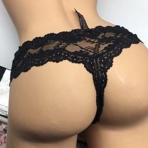 Victoria's Secret Intimates & Sleepwear - L Victoria's Secret Black Lace Thong Panty